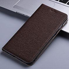 Coque Clapet Portefeuille Livre Tissu pour Samsung Galaxy M60s Marron