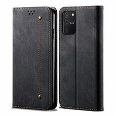 Coque Clapet Portefeuille Livre Tissu pour Samsung Galaxy S10 Lite Noir