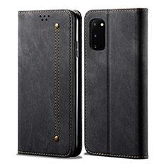 Coque Clapet Portefeuille Livre Tissu pour Samsung Galaxy S20 5G Noir
