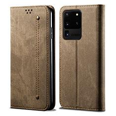 Coque Clapet Portefeuille Livre Tissu pour Samsung Galaxy S20 Ultra 5G Marron