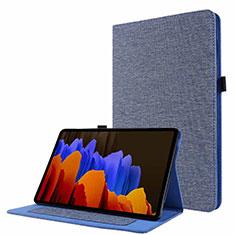 Coque Clapet Portefeuille Livre Tissu pour Samsung Galaxy Tab S7 11 Wi-Fi SM-T870 Bleu