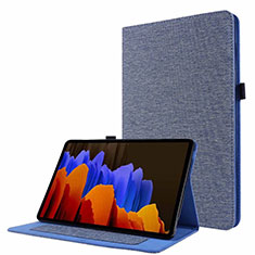 Coque Clapet Portefeuille Livre Tissu pour Samsung Galaxy Tab S7 4G 11 SM-T875 Bleu
