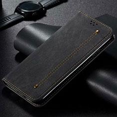 Coque Clapet Portefeuille Livre Tissu pour Vivo X50 Lite Noir