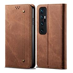 Coque Clapet Portefeuille Livre Tissu pour Xiaomi Mi 10 Ultra Marron