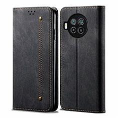 Coque Clapet Portefeuille Livre Tissu pour Xiaomi Mi 10T Lite 5G Noir