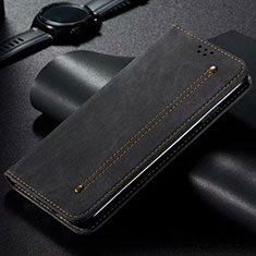 Coque Clapet Portefeuille Livre Tissu pour Xiaomi Mi Note 10 Lite Noir