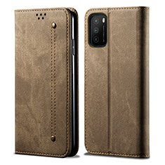 Coque Clapet Portefeuille Livre Tissu pour Xiaomi Poco M3 Kaki
