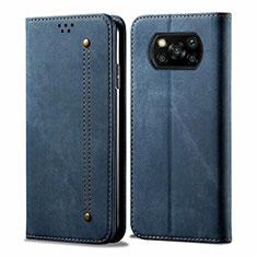 Coque Clapet Portefeuille Livre Tissu pour Xiaomi Poco X3 NFC Bleu