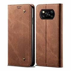 Coque Clapet Portefeuille Livre Tissu pour Xiaomi Poco X3 NFC Marron
