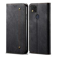 Coque Clapet Portefeuille Livre Tissu pour Xiaomi Redmi 9C NFC Noir