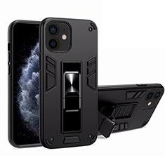 Coque Contour Silicone et Plastique Housse Etui Mat avec Aimant Magnetique Support H01 pour Apple iPhone 12 Noir