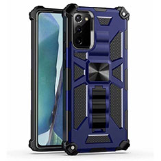 Coque Contour Silicone et Plastique Housse Etui Mat avec Aimant Magnetique Support H01 pour Samsung Galaxy Note 20 5G Bleu