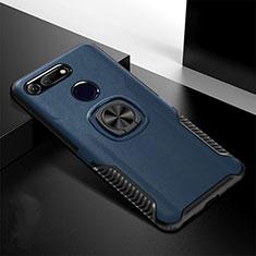 Coque Contour Silicone et Plastique Housse Etui Mat avec Aimant Magnetique Support H02 pour Huawei Honor View 20 Bleu