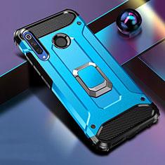 Coque Contour Silicone et Plastique Housse Etui Mat avec Aimant Magnetique Support K01 pour Huawei Honor 20 Lite Bleu