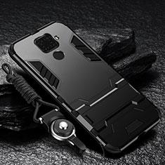 Coque Contour Silicone et Plastique Housse Etui Mat avec Aimant Magnetique Support pour Huawei Mate 30 Lite Noir