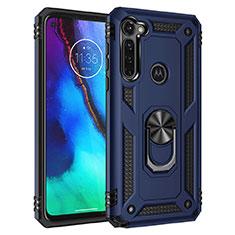 Coque Contour Silicone et Plastique Housse Etui Mat avec Aimant Magnetique Support pour Motorola Moto G Stylus Bleu
