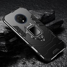 Coque Contour Silicone et Plastique Housse Etui Mat avec Aimant Magnetique Support pour OnePlus 7T Noir