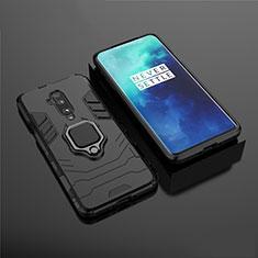 Coque Contour Silicone et Plastique Housse Etui Mat avec Aimant Magnetique Support pour OnePlus 7T Pro Noir