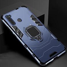 Coque Contour Silicone et Plastique Housse Etui Mat avec Aimant Magnetique Support pour Xiaomi Redmi Note 8 Bleu