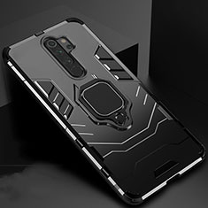 Coque Contour Silicone et Plastique Housse Etui Mat avec Aimant Magnetique Support pour Xiaomi Redmi Note 8 Pro Noir
