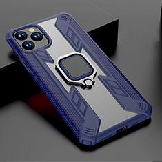 Coque Contour Silicone et Plastique Housse Etui Mat avec Magnetique Support A01 pour Apple iPhone 11 Pro Max Bleu