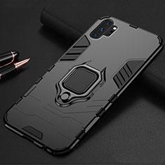 Coque Contour Silicone et Plastique Housse Etui Mat avec Magnetique Support A01 pour Samsung Galaxy Note 10 Plus 5G Noir