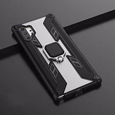 Coque Contour Silicone et Plastique Housse Etui Mat avec Magnetique Support A02 pour Samsung Galaxy Note 10 Plus Noir