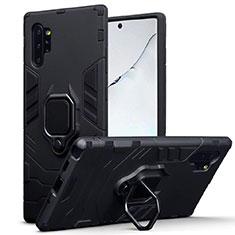 Coque Contour Silicone et Plastique Housse Etui Mat avec Magnetique Support A03 pour Samsung Galaxy Note 10 Plus Noir