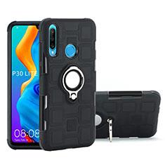 Coque Contour Silicone et Plastique Housse Etui Mat avec Magnetique Support Bague Anneau A01 pour Huawei P30 Lite Noir