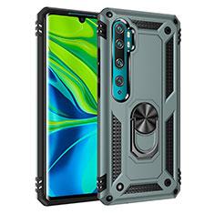 Coque Contour Silicone et Plastique Housse Etui Mat avec Magnetique Support Bague Anneau D01 pour Xiaomi Mi Note 10 Vert