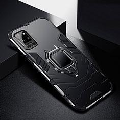 Coque Contour Silicone et Plastique Housse Etui Mat avec Magnetique Support Bague Anneau N01 pour Huawei Honor Play4 Pro 5G Noir