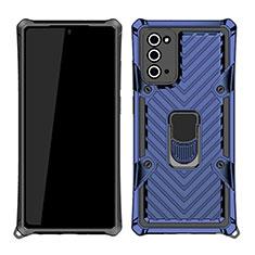 Coque Contour Silicone et Plastique Housse Etui Mat avec Magnetique Support Bague Anneau N03 pour Samsung Galaxy Note 20 5G Bleu