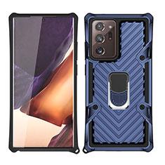 Coque Contour Silicone et Plastique Housse Etui Mat avec Magnetique Support Bague Anneau N03 pour Samsung Galaxy Note 20 Ultra 5G Bleu