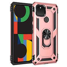 Coque Contour Silicone et Plastique Housse Etui Mat avec Magnetique Support Bague Anneau pour Google Pixel 5 Or Rose