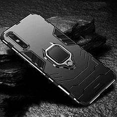 Coque Contour Silicone et Plastique Housse Etui Mat avec Magnetique Support Bague Anneau pour Huawei Enjoy 10e Noir