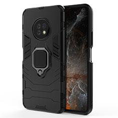 Coque Contour Silicone et Plastique Housse Etui Mat avec Magnetique Support Bague Anneau pour Huawei Enjoy 20 Plus 5G Noir