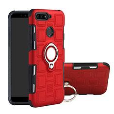 Coque Contour Silicone et Plastique Housse Etui Mat avec Magnetique Support Bague Anneau pour Huawei Enjoy 8e Rouge