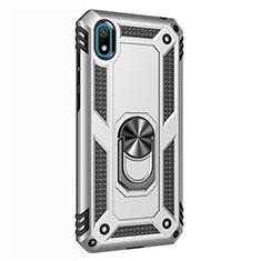 Coque Contour Silicone et Plastique Housse Etui Mat avec Magnetique Support Bague Anneau pour Huawei Enjoy 8S Argent