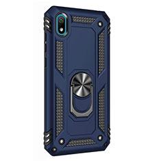 Coque Contour Silicone et Plastique Housse Etui Mat avec Magnetique Support Bague Anneau pour Huawei Enjoy 8S Bleu