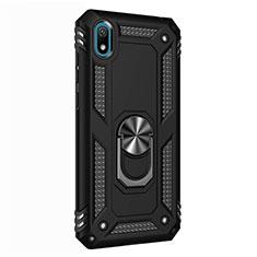 Coque Contour Silicone et Plastique Housse Etui Mat avec Magnetique Support Bague Anneau pour Huawei Enjoy 8S Noir