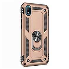 Coque Contour Silicone et Plastique Housse Etui Mat avec Magnetique Support Bague Anneau pour Huawei Enjoy 8S Or