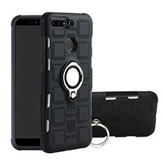 Coque Contour Silicone et Plastique Housse Etui Mat avec Magnetique Support Bague Anneau pour Huawei Honor 7A Noir