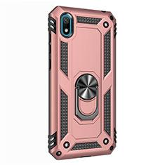 Coque Contour Silicone et Plastique Housse Etui Mat avec Magnetique Support Bague Anneau pour Huawei Honor Play 8 Or Rose