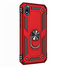 Coque Contour Silicone et Plastique Housse Etui Mat avec Magnetique Support Bague Anneau pour Huawei Honor Play 8 Rouge