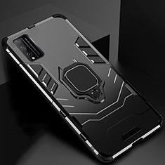 Coque Contour Silicone et Plastique Housse Etui Mat avec Magnetique Support Bague Anneau pour Huawei Honor Play4T Pro Noir