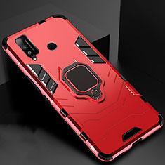 Coque Contour Silicone et Plastique Housse Etui Mat avec Magnetique Support Bague Anneau pour Huawei Honor Play4T Rouge