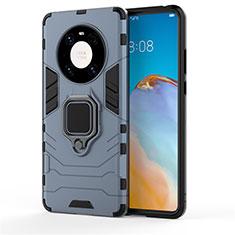 Coque Contour Silicone et Plastique Housse Etui Mat avec Magnetique Support Bague Anneau pour Huawei Mate 40 Pro Bleu