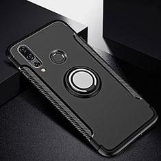 Coque Contour Silicone et Plastique Housse Etui Mat avec Magnetique Support Bague Anneau pour Huawei Nova 4e Noir