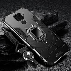 Coque Contour Silicone et Plastique Housse Etui Mat avec Magnetique Support Bague Anneau pour Huawei Nova 5i Pro Noir