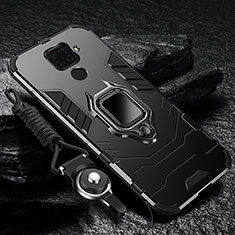 Coque Contour Silicone et Plastique Housse Etui Mat avec Magnetique Support Bague Anneau pour Huawei Nova 5z Noir